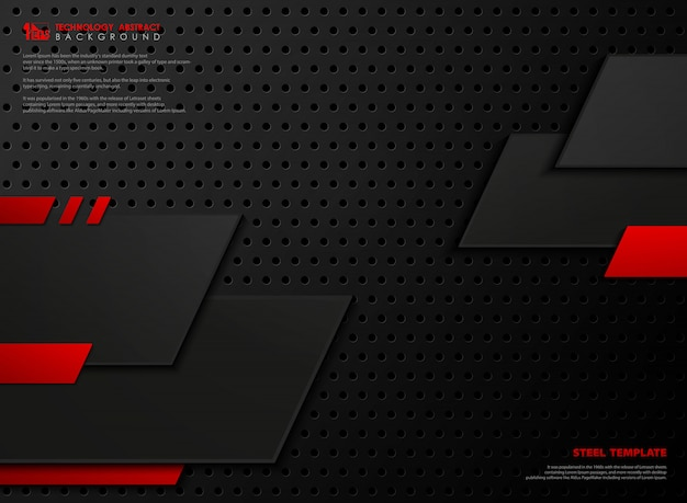 Абстрактная современная красная и черная стальная предпосылка стиля.