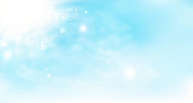 Абстрактный вектор лето небо фон с облаками и солнцем.