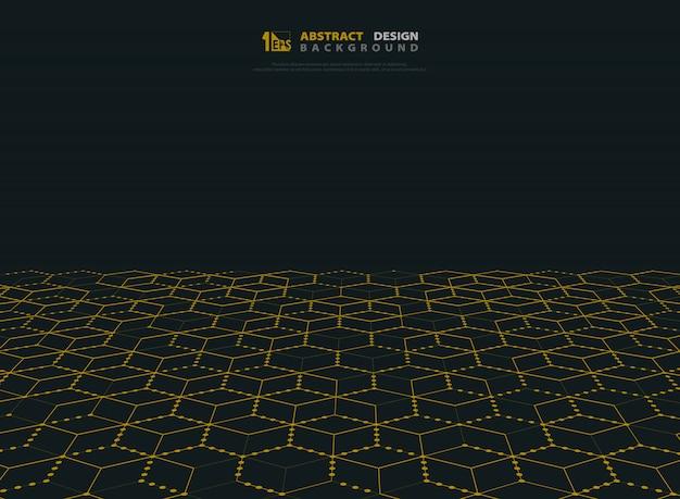 Абстрактный золотой цвет шестиугольника технологии современного фона.