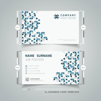 Шаблон визитной карточки с абстрактными технологиями синий дизайн треугольников