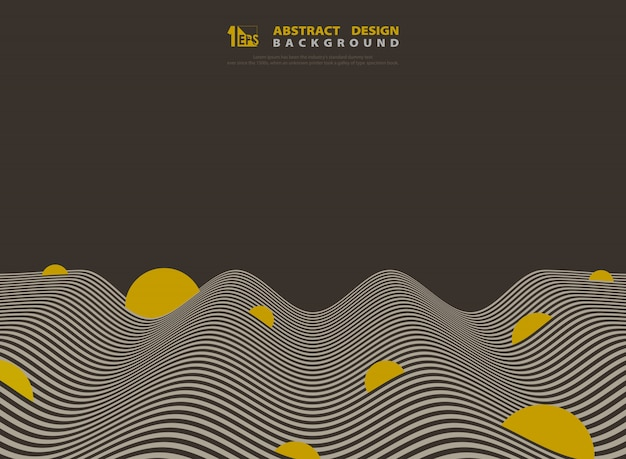 抽象的な茶色と黄色の光波線デザインの背景。