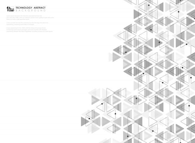 技術テーマのアートワークの抽象的な灰色の三角形のパターン。