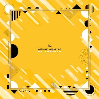 黒と白のトーンの背景を持つ抽象的な黄色の幾何学的な装飾。