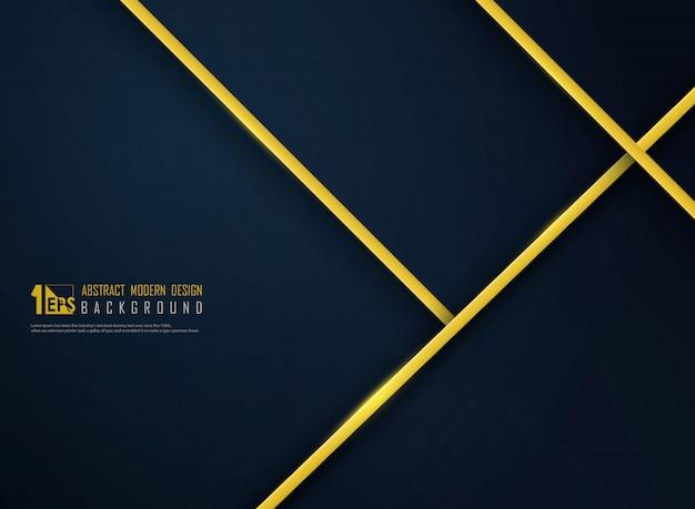 グラデーションクラシックブルーテンプレートの背景に抽象的な高級ゴールデンライン