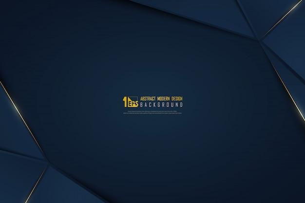 グラデーションブルーテンプレートの背景に抽象的な高級ゴールデンライン