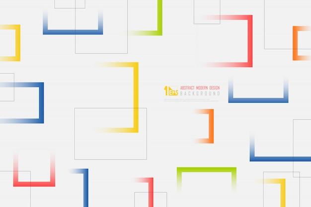 カラフルな正方形の抽象的な白い背景