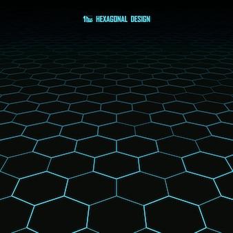 抽象的な青い六角形パターン設計