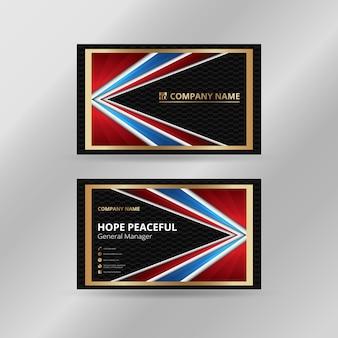 Абстракция визитная карточка роскошного золотистого, синего, красного и черного цветов.