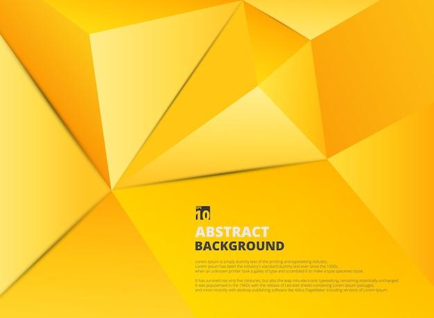影を持つ勾配黄色の五角形の抽象的な背景。