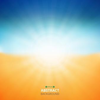 日の出の自然のビーチの背景の夏の背景。