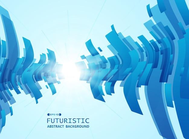 グラデーションブルーの未来的なパターンの背景の概要。