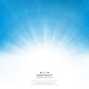 クリーンな青い空の背景に太陽バースト効果の中心