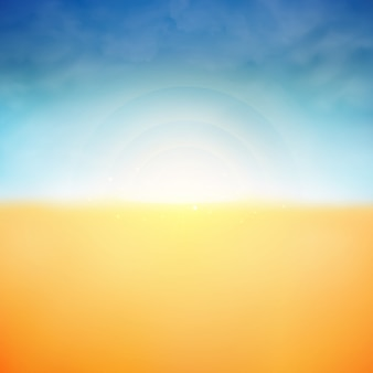 太陽の光と雲の夏の背景自然のビーチの背景。