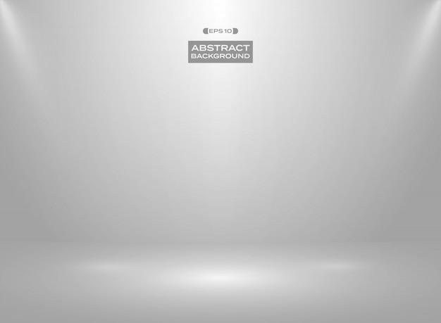 スタジオルームの背景にグラデーションの白い灰色