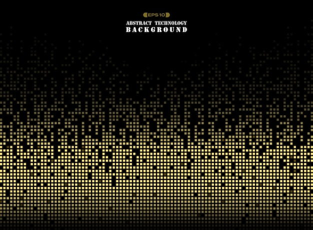 ゴールデンカラースクエアパターンのピクセル背景の技術。