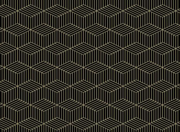 黒い背景に幾何学的な金のグリッド線パターンの要約。