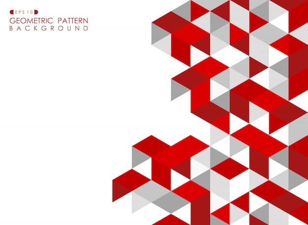 Абстрактный красный геометрический фон с многоугольными треугольниками.