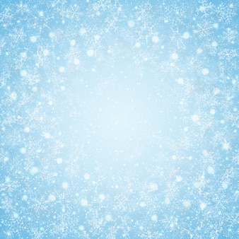 クリスマス、センター、青、空、雪片、パターン、背景。