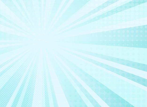 コミックハーフトーン背景の抽象的な日当たりの良い放射輝度パターン