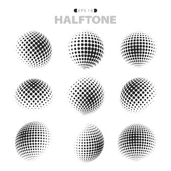Абстрактная современная картина полутоновых точек черно-белая.