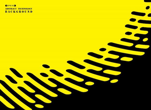 黄色の背景に黒の抽象的なストライプライン。