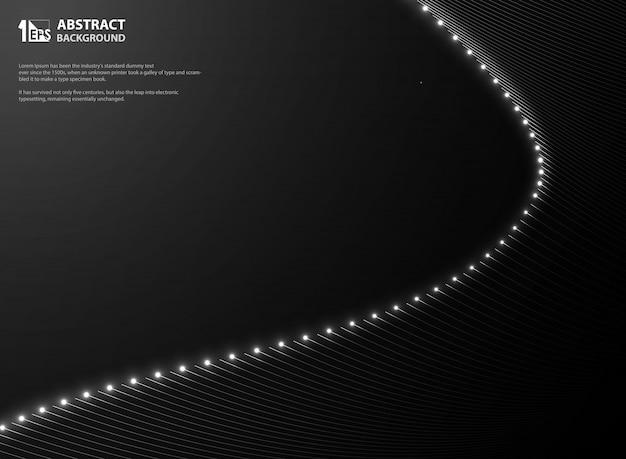 メッシュライン輝くきらめきと抽象的なグラデーションブラック