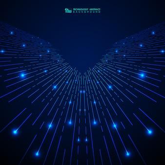抽象的なブルーグラデーションテクノロジーストライプラインパターン