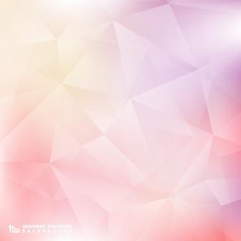 柔らかい色のピンクと紫色の背景多角形パターン。
