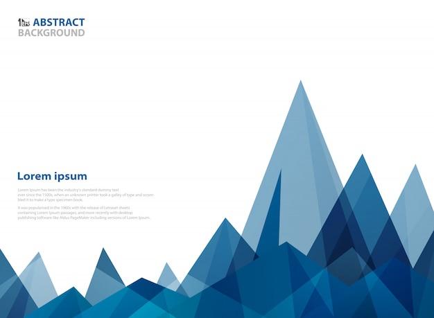 山の形の幾何学的な抽象的な青い三角形のパターン。