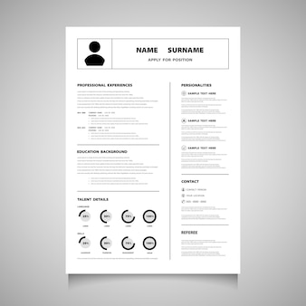 黒い色の現代履歴書履歴書フォーム