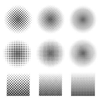 円と正方形の抽象的なハーフトーンセット。