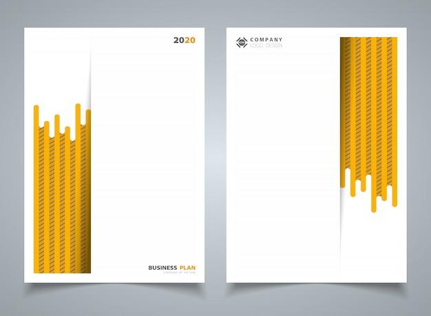 テンプレートのパンフレットの背景の抽象的な現代的な黄色の縞線パターン。