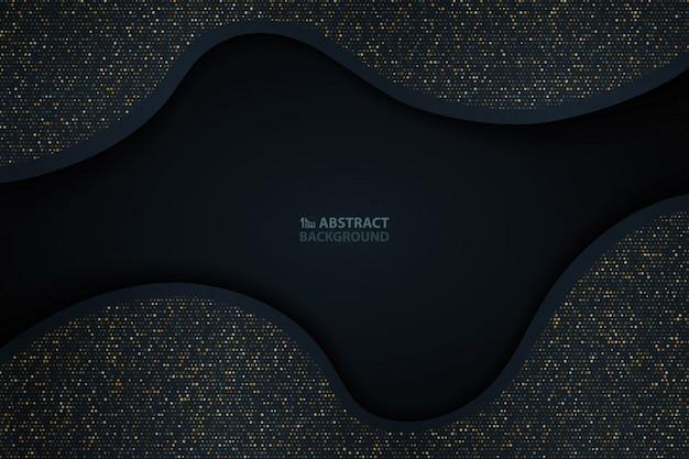 抽象的なダークブルーの紙カットゴールドラメパターン背景
