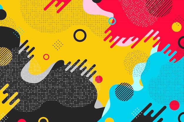 抽象的なカラフルなパターン形状デザインの背景。
