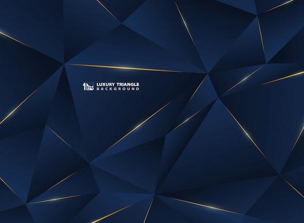 古典的な青いテンプレートプレミアム背景を持つ抽象高級ゴールデンライン。