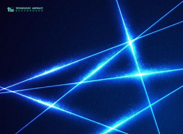 エネルギー設計の抽象的な青い技術ラインドットビッグデータ背景。