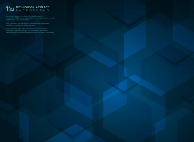 ブルーのハイテク未来的な六角形パターン背景
