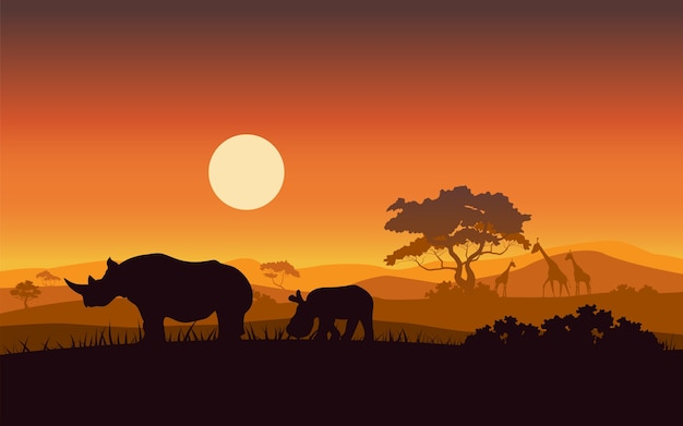 野生アフリカ・ライノのサンセット・サファリ動物のシルエット