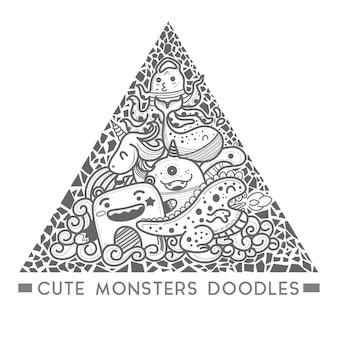 かわいいモンスター落書き三角形スタイルのフレームベクトル。