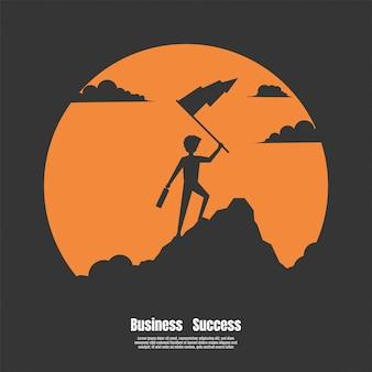 成功のシルエットのビジネスマン