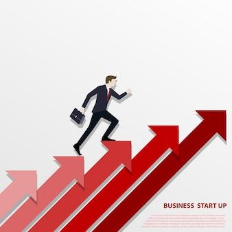 赤い矢印の上を歩くビジネスマン