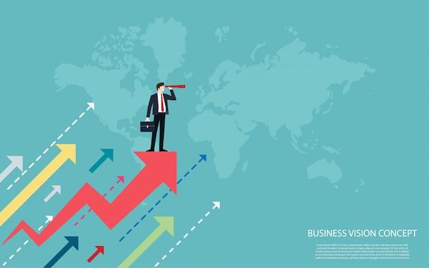 赤い矢印の上に立っているビジネスマンは成功に両眼視を使用します。