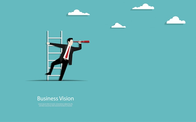 ビジネスマンは紙の切り欠きから階段を登る
