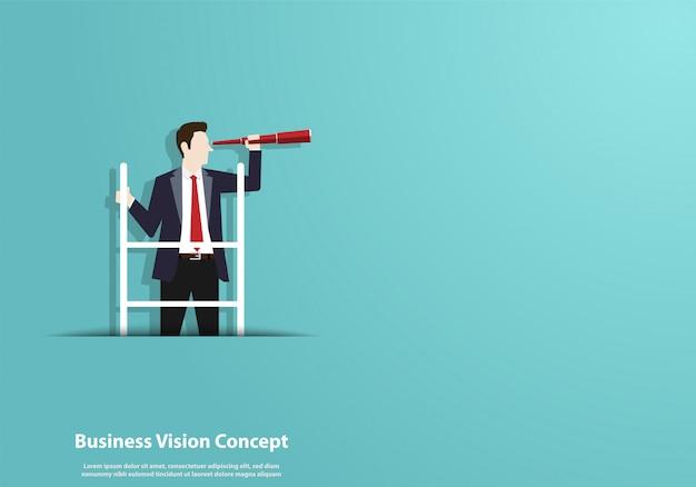 ビジネスマンと望遠鏡の文字で成功するビジョン