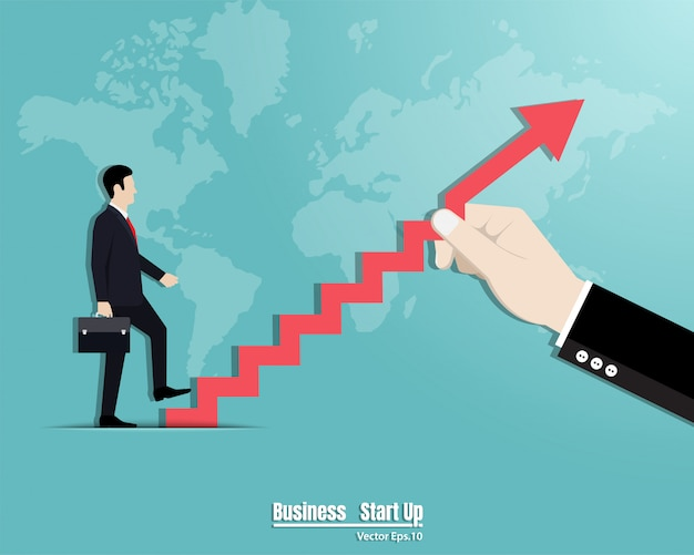 階段を上って歩くビジネスマン