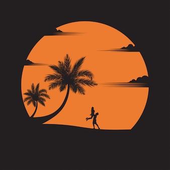 Пара развлекается на пляже на закате
