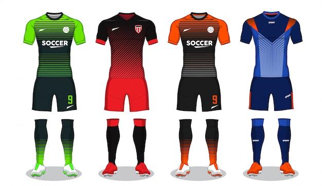Набор футбольного комплекта, спортивная футболка дизайн.