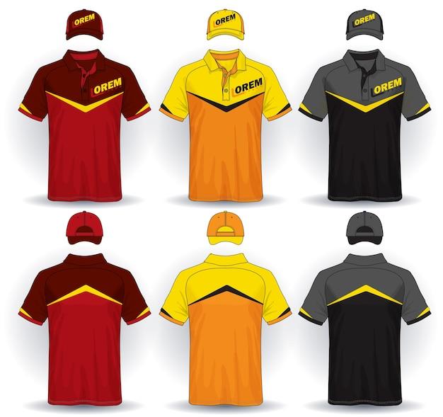 均一なテンプレート、ポロシャツ、キャップのセット。