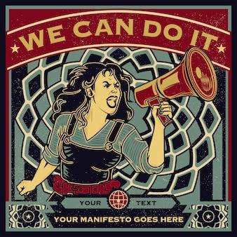 Винтажный пропагандистский плакат и элементы женской власти, права женщины, протест и феминизм