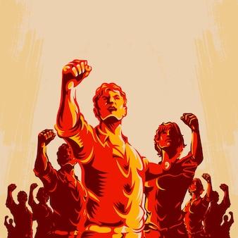 群衆の抗議の拳革命ポスターデザイン